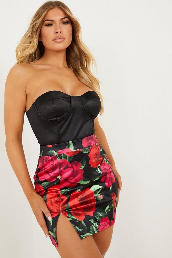 Red Satin Rose Mini Skirt