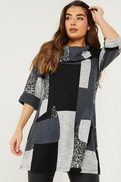 Grey Patchwork Tunic Top