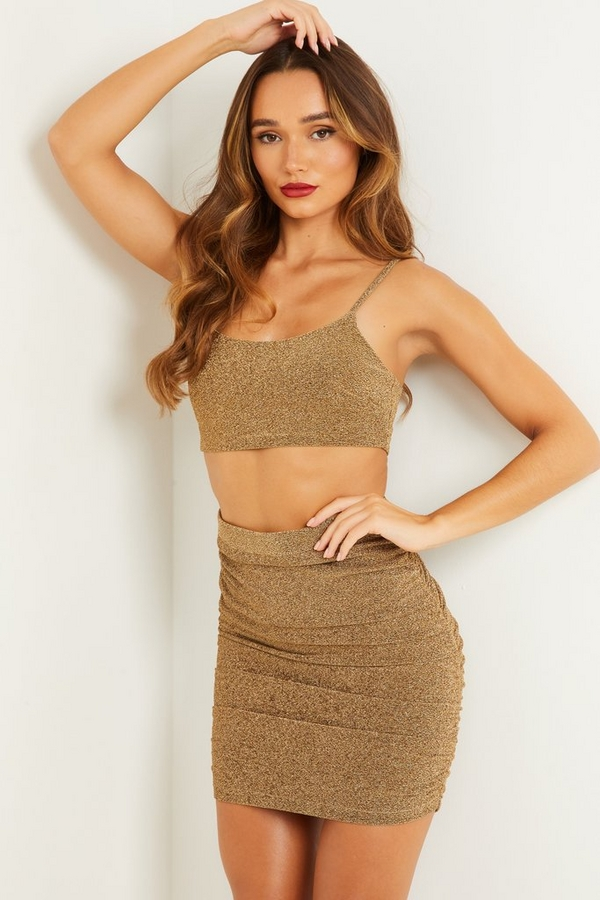 Gold Shimmer Mini Skirt