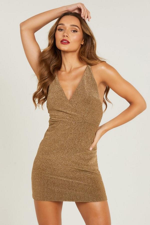 Gold Shimmer Mini Dress