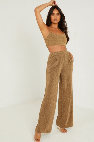 Gold Shimmer Palazzo Trousers