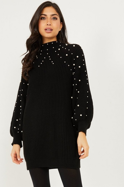 Black Pearl Knitted Jumper Dress