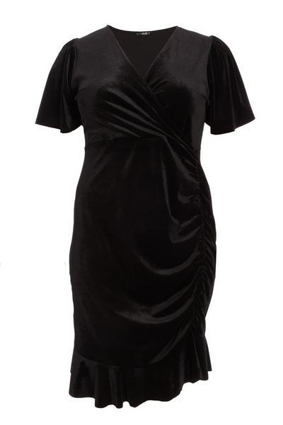 Curve Black Velvet Ruched Dress