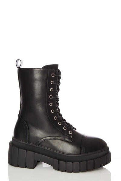 Black Faux Leather Chunky Lace Up Boots