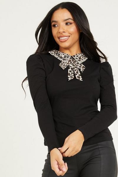 Black & Grey Leopard Diamante Bow Top