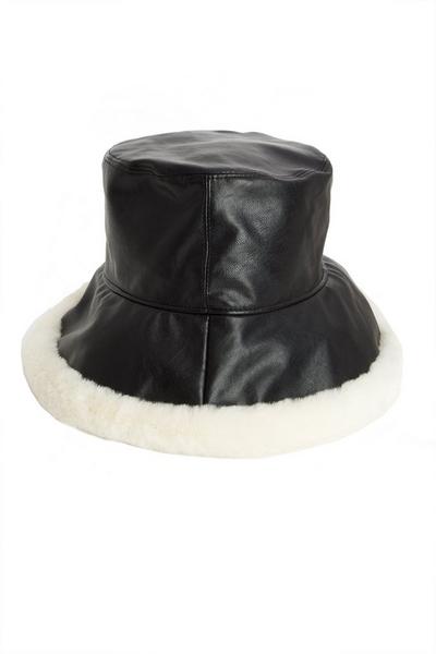 Black Faux Fur Trim Bucket Hat