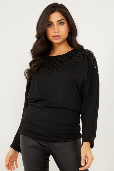 Black Light Knit Sequin Top