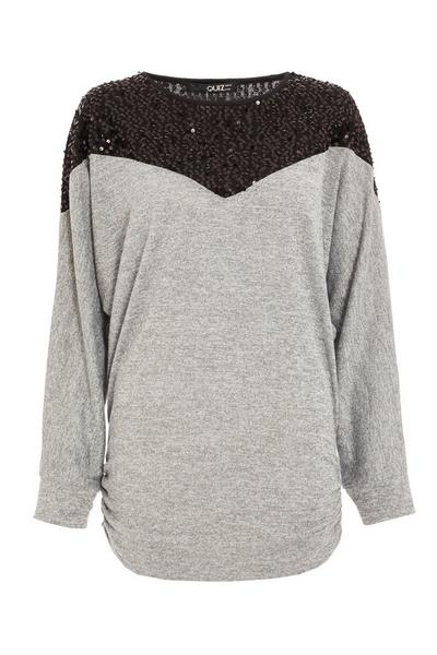 Grey Light Knit Sequin Top