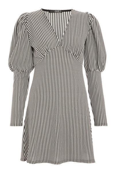 Black Checked Puff Sleeve Skater Dress