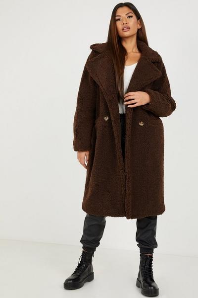 Brown Borg Teddy Bear Long Coat