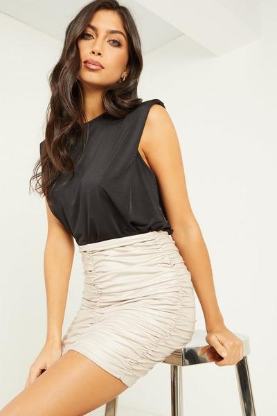 Stone Ruched Mini Skirt