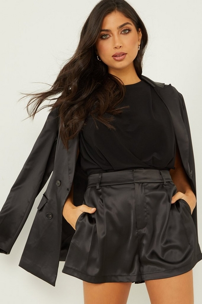 Black Satin Tailored Shorts