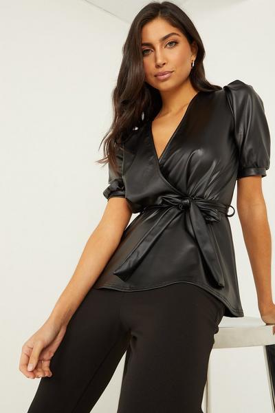 Vicky Pattison Black Faux Leather Peplum Top