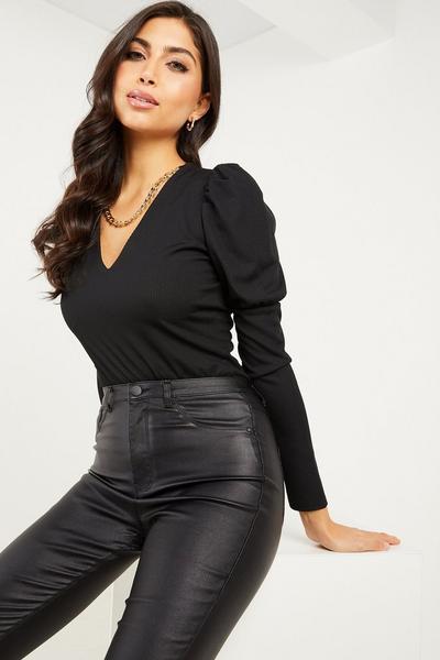 Black Ribbed Puff Sleeve Chain Bodysuit