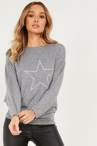 Grey Light Knit Glitter Top