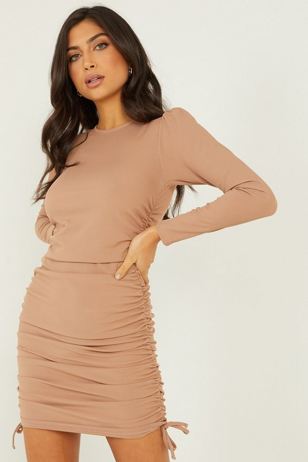 Camel Ruched Bodycon Dress
