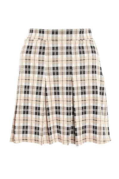 Stone Check Pleated Mini Skirt
