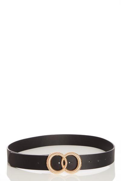 Black Textured Circle Buckle Belt
