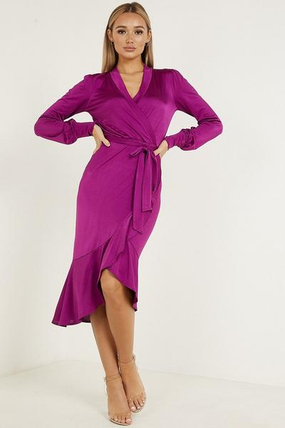 Magenta Wrap Frill Long Sleeves Tie Belt Dress