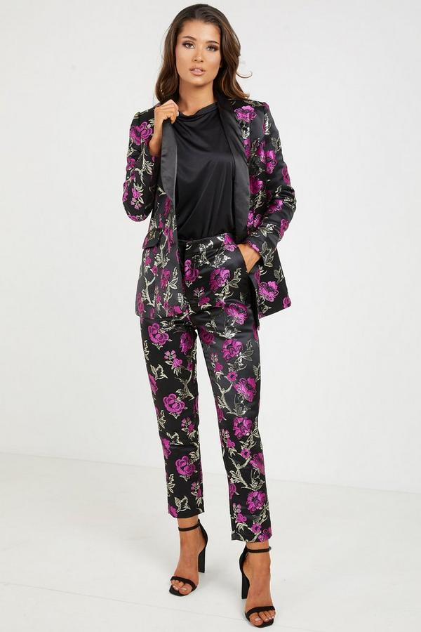 Black Magenta Jacquard Straight Leg Embroidered Trousers