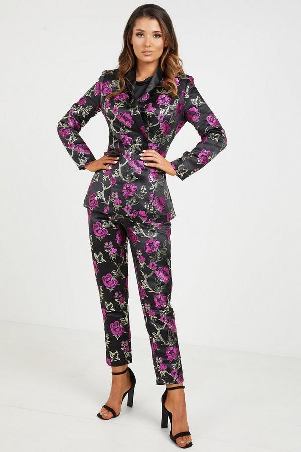 Black Magenta Jacquard Embroidered Blazer
