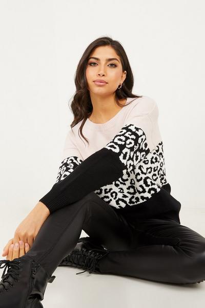 Black Leopard Print Knitted Jumper