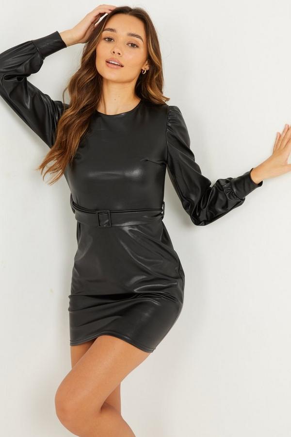 Black Faux Leather Bodycon Dress