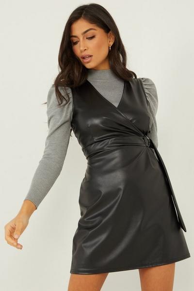 Black Faux Leather Pinafore Dress