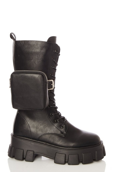 Black Faux Leather Pouch Calf Boots