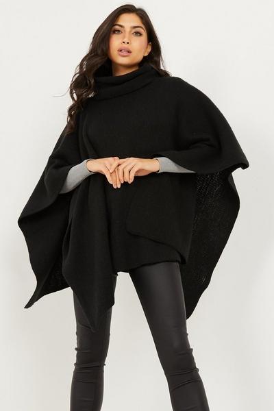 Black Polo Neck Knit Poncho