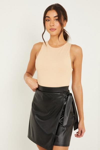 Black Faux Leather Wrap Skirt