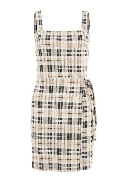 Stone Check Pinafore Dress