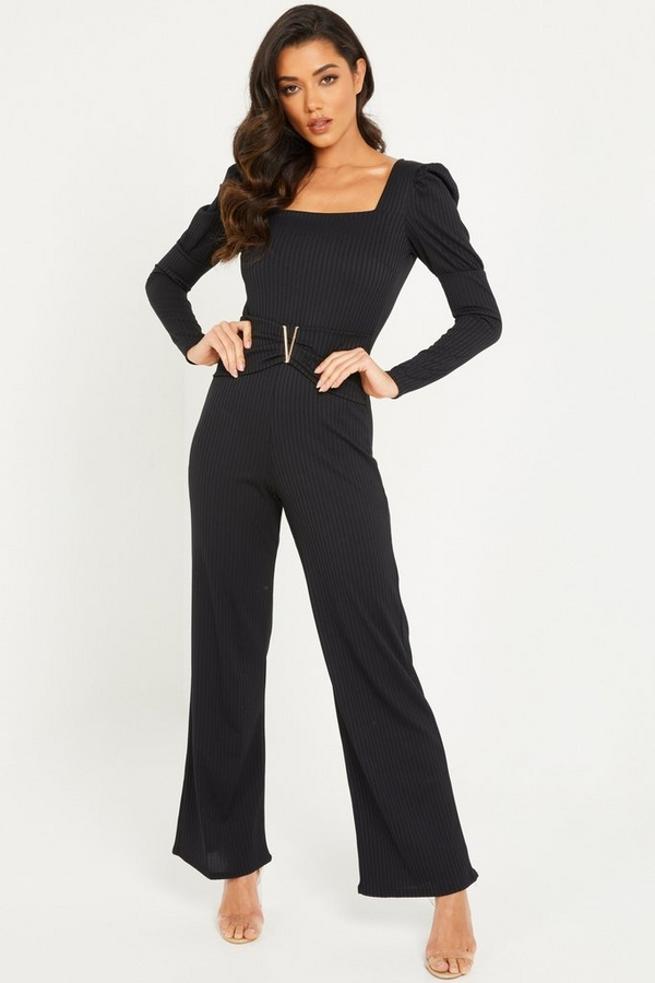 Black Ribbed Puff Sleeve Jumpsuit