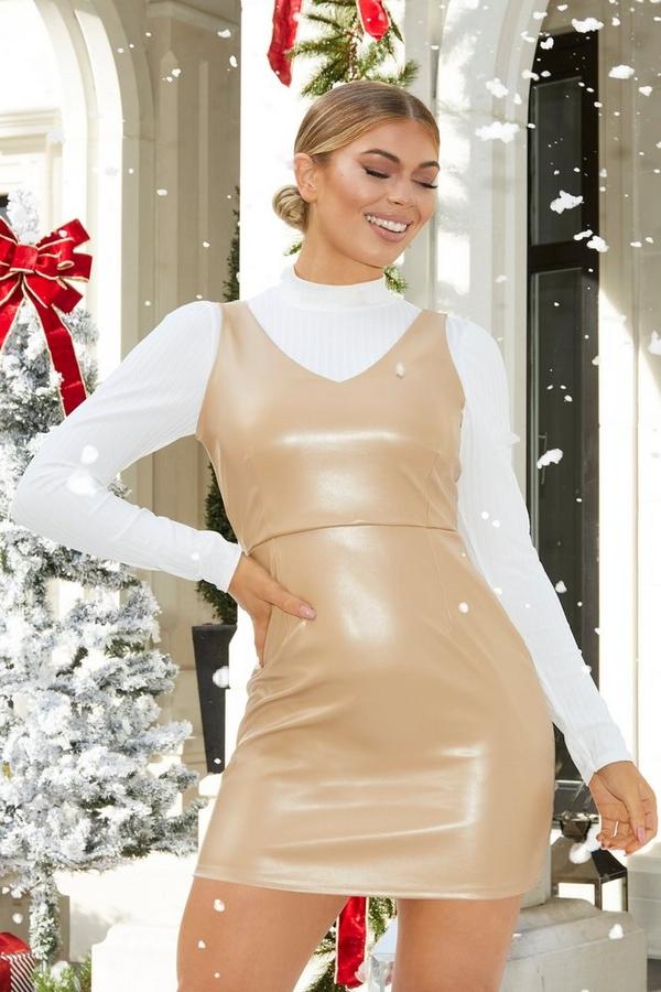 Petite Camel Faux Leather Bodycon Dress