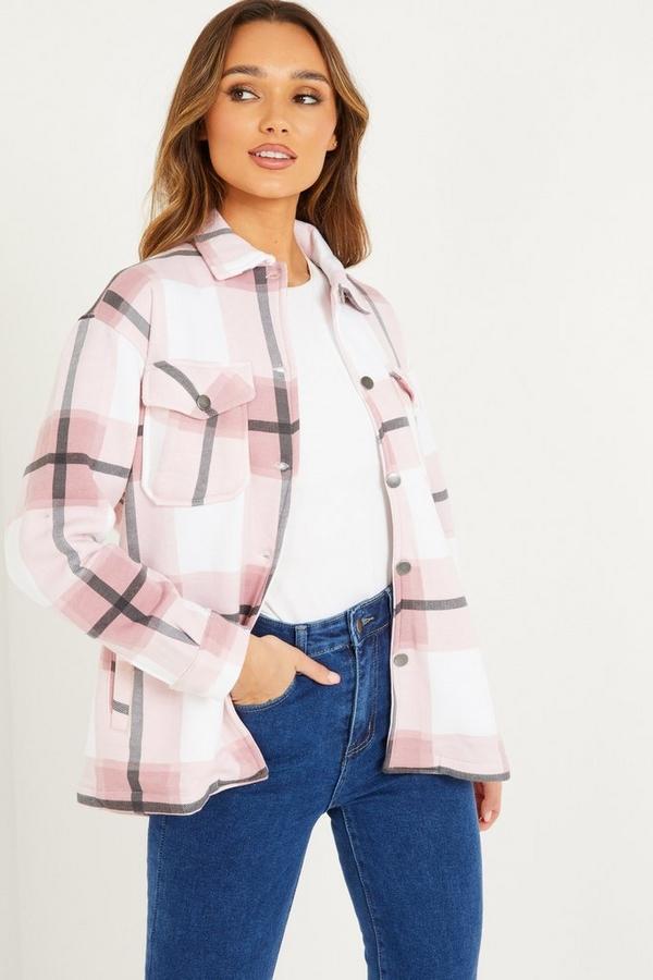 Pink Checked Pocket Front Shacket