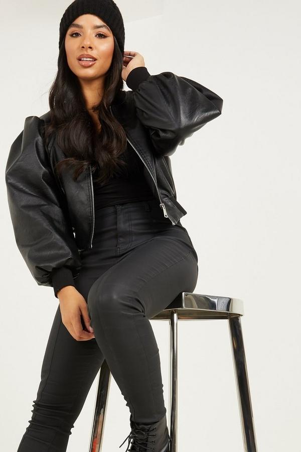 Black Faux Leather Cropped Bomber Jacket