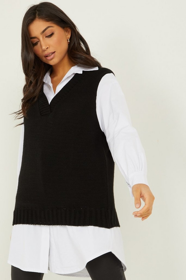 Black Knitted Tunic Top