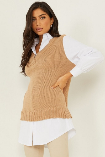 Camel Knitted Tunic Top