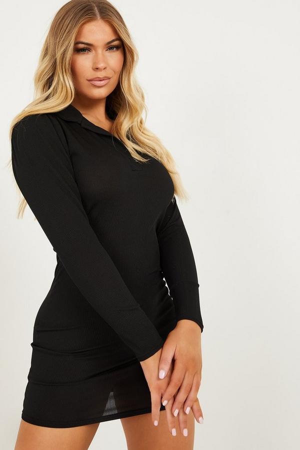 Petite Black Ribbed Shirt Dress