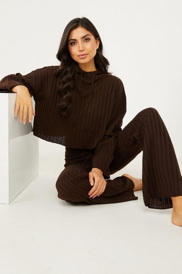 Brown Knitted Hoodie Lounge Set