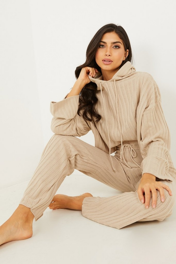 Stone Knitted Hoodie Lounge Set