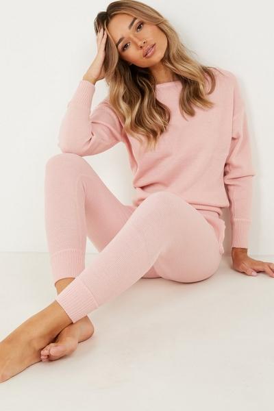 Pink Knitted Lounge Set