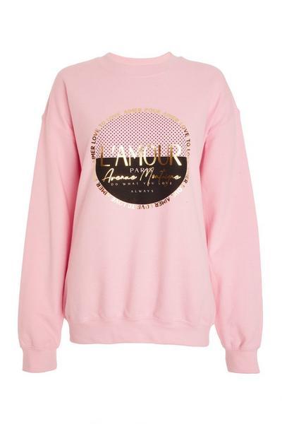 Pink Slogan Print Sweatshirt