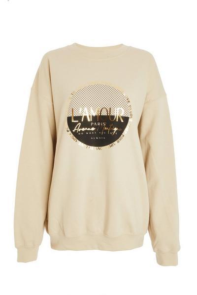 Stone Slogan Print Sweatshirt