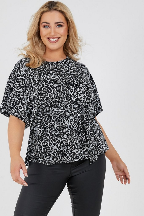 Curve Silver Animal Print Batwing Top