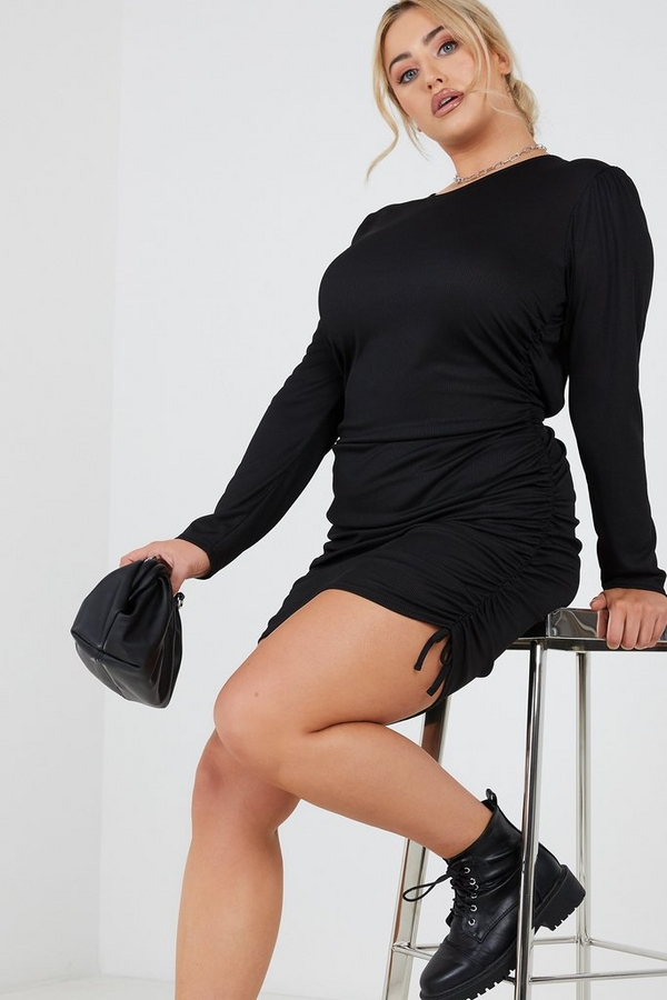 Curve Black Ruched Bodycon Dress