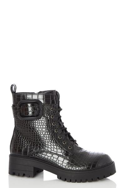 Black Crocodile Chunky Lace Up Boots