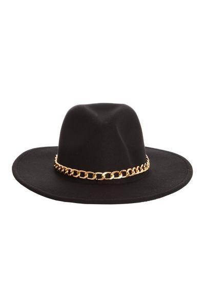 Black Chain Fedora Hat