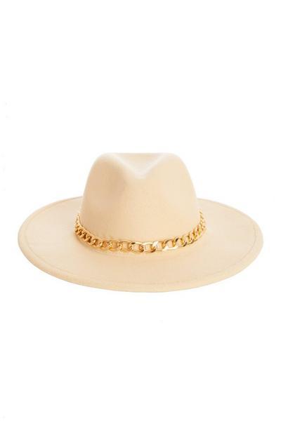 Cream Chain Fedora Hat