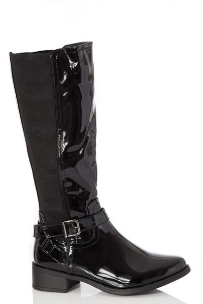Black Patent Riding Boot